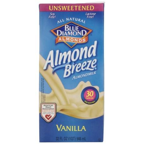 Blue Diamond Breeze Unsweetened Vanilla, 32-ounce