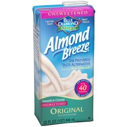 Blue Diamond Almond Breeze Milk, Unsweetened Original, 32-Ounce Boxe