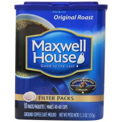 Maxwell House Original Roast Ground Coffee, 10-Count Filter Packs
