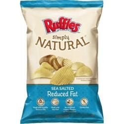 Frito Lay, Ruffles, Natural Sea Salted Potato Chips, 8 Ounce