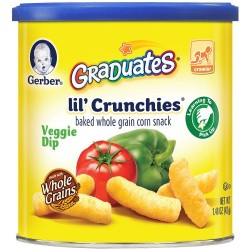 Gerber Graduates Lil' Crunchies, Veggie Dip, 1.48-Ounce Canisters