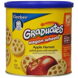 Gerber Graduates Finger Foods Harvest Apple Wagon Wheels, 1.48-Ounce Canisters