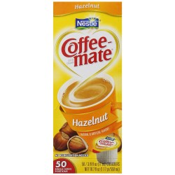 Coffee Mate Single-Serving Creamer, Hazelnut, .38 oz, Pack of 50