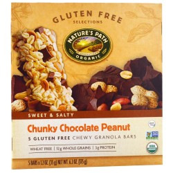 Nature's Path Gluten Free Granola Bar, Chunky Chocolate Peanut, 6,2-Ounce