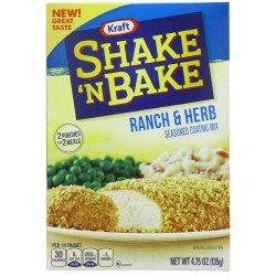 Kraft Shake N Bake Seasoned Coating Mix Box, Ranch and Herb, 4.75 Ounce