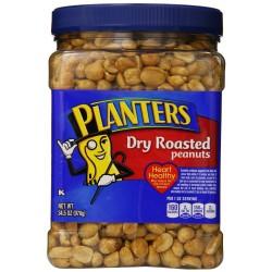 Planters Dry Roasted Peanuts, With Pure Sea Salt, 34.5 Ounce