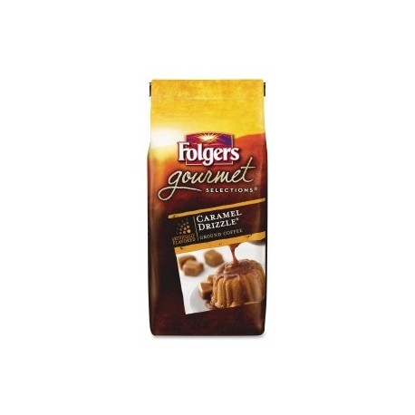 Folgers, Gourmet Selections, Caramel Drizzle Ground Coffee, 10 oz Bag