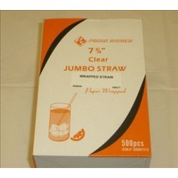 Prime Source Jumbo Clear Straws, Wrapped 7.75 Inch, 500 ct.