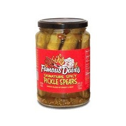 Famous Dave's Signature Spicy Pickles 24 Ounce Glass Jar, Spears