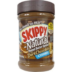Skippy Natural Dark Chocolate Peanut Butter Spread - Creamy 15 Ounce Jar