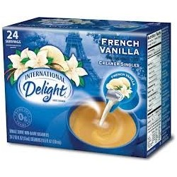 International Delight, French Vanilla, Non-Dairy Cremer, 24-count Creamer Singles (Pack of 2)