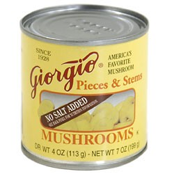 Giorgio No Salt Added Mushrooms 4 Ounce