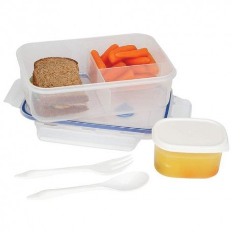 Lacuisine 34oz Locking Divided Lunch Container Spoon Fork Lockable Lid Silicone Seals
