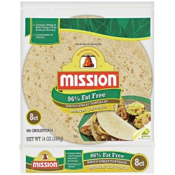 Mission 96% Fat Free Medium Soft Taco Whole Wheat Tortillas 8 Ct