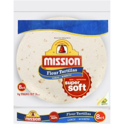 Mission, Flour Tortilla, Burrito, Large Size, 8 Count, 20 Ounce