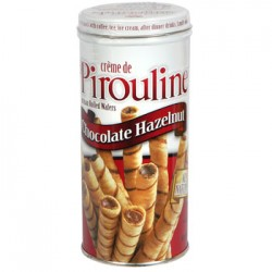 Creme de Pirouline Chocolate Hazelnut Artisan Rolled Wafers, 3.25-oz. Tins (Pack of 4)(