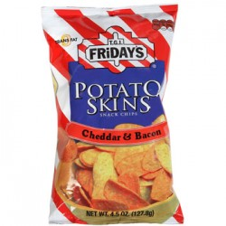 TGI Friday's Potato Skins Cheddar Bacon Snack Chips 4.5 oz Bags (Pack of 4)