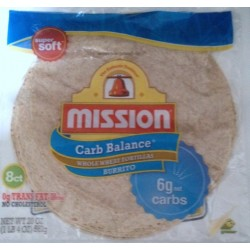 Mission Carb Balance Large/Burrito Whole Wheat Tortillas 8 per pack (Pack of 4)