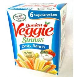 Sensible Portions Garden Veggie Straws - Zesty Ranch Flavor - Box of 6 X 1 oz Bags
