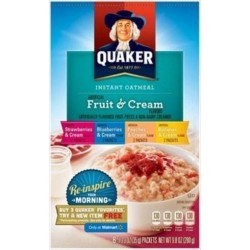 Quaker Instant Oatmeal Fruit & Cream, Variety Pack,  8-Count (Pack of 2)
