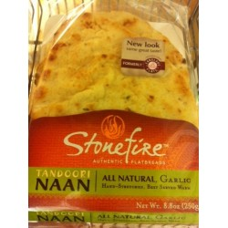 3 Packs of Stonefire Authentic Flatbreads All Natural 8.8 Oz, Garlic  Naan