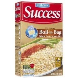 2 Boxes of Success Boil in Bag Whole Grain Brown Rice, 14 oz, 4 ct
