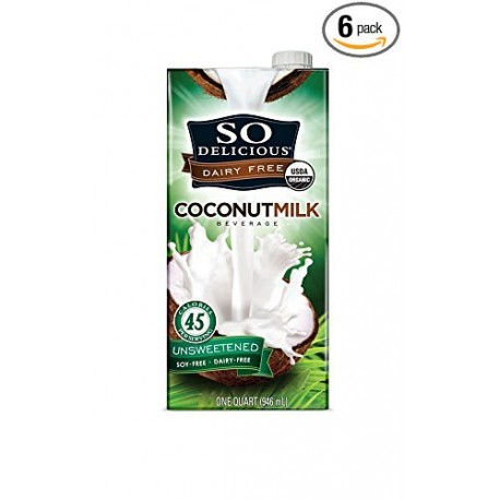 2 Packs of So Delicious Dairy Free - Organic Coconut Milk Beverage Organic Unsweetened, 32-Ounce