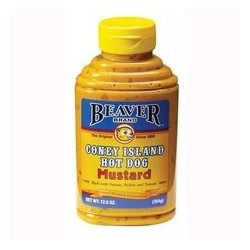 2 Bottles of Beaver Brand, Coney Island Hot Dog Mustard, 12.5 Ounce