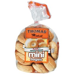 Thomas' Mini Plain Pre-sliced Bagels 15 Oz (Pack of 2)