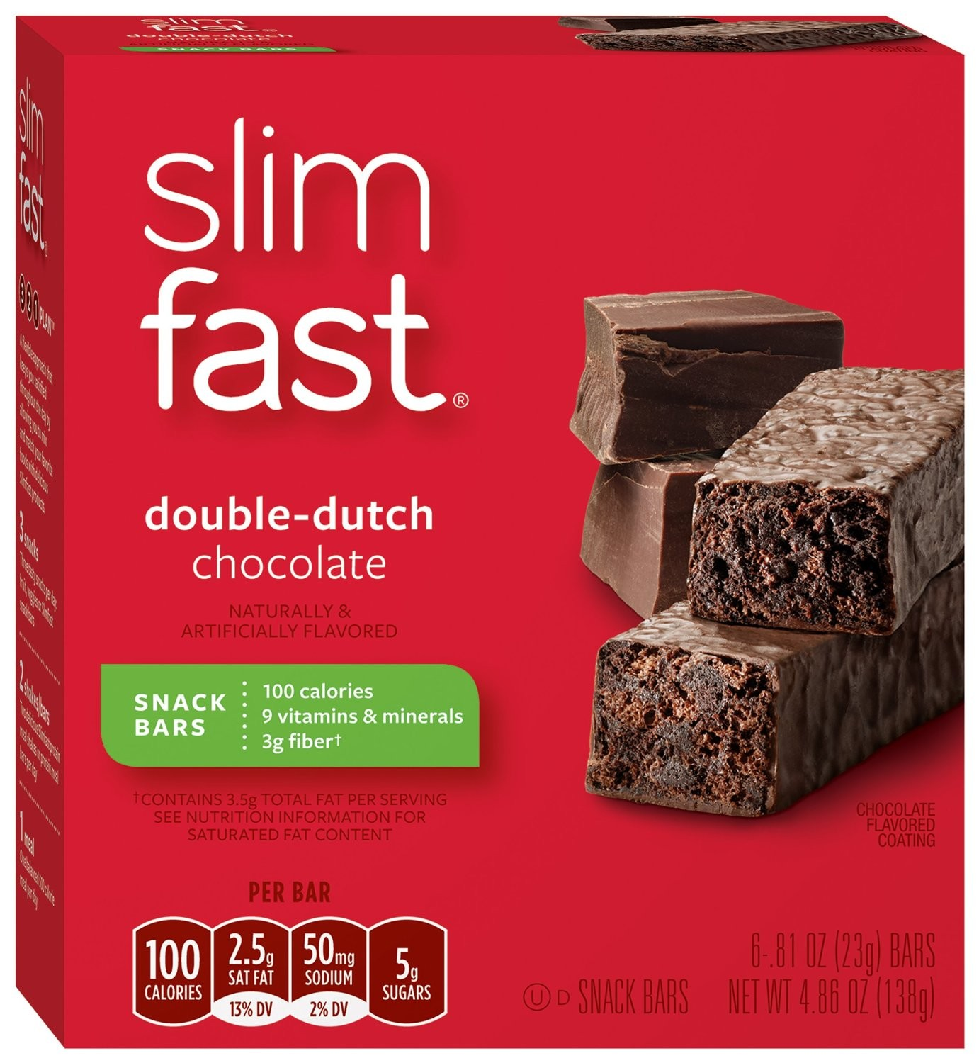 Pack of Slim-fast Double Dutch Chocolate Snack Bars, 6ct ...