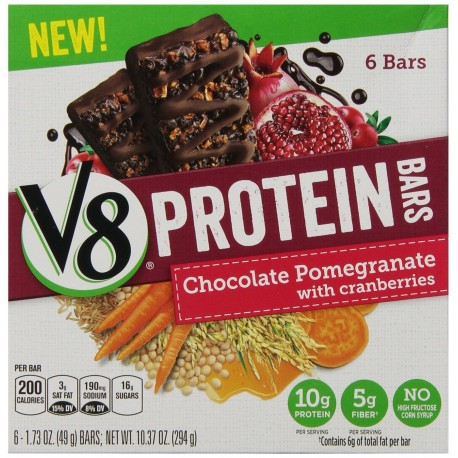 Campbell's, V8, Protein Bars, 10.37oz Box, Chocolate Pomegranate with Cranberries