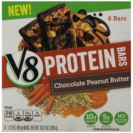 Campbell's V8 Protein Bars, Chocolate Peanut Butter, 6 Bars