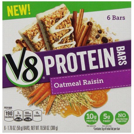 Campbell's V8 Protein Bars, Oatmeal Raisin, 1.76 Ounce