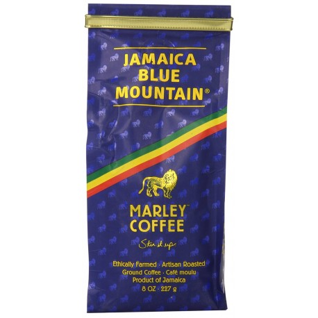 Marley Coffee Talkin' Blues, Jamaica Blue Mountain Naturally Grown Ground Coffee, 8-Ounce Bag