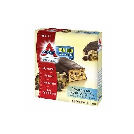 Atkins Advantage Meal Bars Chocolate Chip Cookie Dough 5 ea