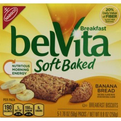 Nabisco Belvita Soft Baked Banana Bread Flavored Breakfast Biscuits, 5 packs - 1.76 oz. ea