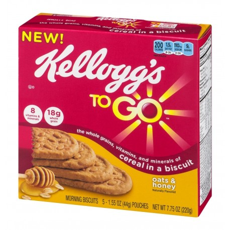 Kellogg's, To Go, Oats & Honey Biscuits, 5 Count, 7.75 OZ