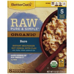 Better Oats Raw Pure and Simple Organic Bare Instant Mutligrain Hot Cereal with Flax 10 Pouch