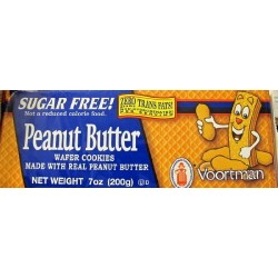 Voortman, Sugar Free, Peanut Butter Wafer Cookies, 7oz Bag