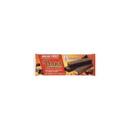 Voortman, Sugar Free, Chocolate Covered Peanut Butter Wafer Cookies, 5.5oz Bag