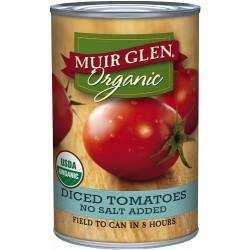 Muir Glen Organic Diced Tomatoes, No Salt, 14.5-Ounce Cans