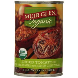 Muir Glen Organic Diced Tomatoes, Fire Roasted with Medium Green Chilies, 14.5-Ounce Cans
