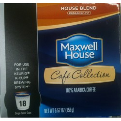 Maxwell House, Cafe Collection, House Blend, Medium Roast, 100% Arabica Coffee K-cup®, 18 Count, 5.57 oz Box(Pack of 2)