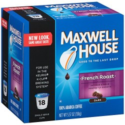 Maxwell House Cafe French Roast Coffee Pods, 18 Count (Pack of 2)