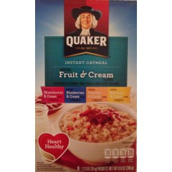 Quaker Instant Oatmeal Fruit & Cream, Variety Pack, 8-Count Box