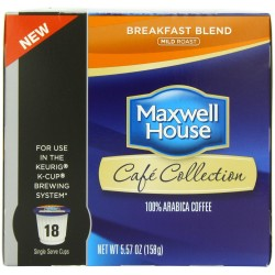 Maxwell House Cafe Breakfast Blend Coffee Pods, 18 Count Pack of  2)