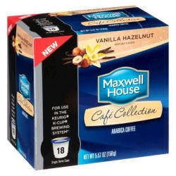 Maxwell House Cafe Collection Vanilla Hazelnut K-cup®, 18 Count (Pack of 2)