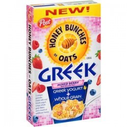 Post, Honey Bunches of Oats, Greek, Mixed Berry Cereal, 15.5 Oz Box