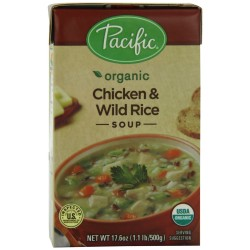 Pacific Natural Foods Organic Chicken With Wild Rice Soup, 17.6-Ounce Box