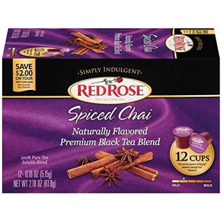 Red Rose Simply Indulgent Premium Black Tea Blend for Keurig K-Cup Brewers, 12 Cups,  Special Chai (Pack of 2)